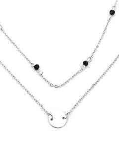 Paillette Layered Bead Pendant Necklace - Silver