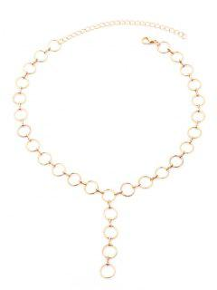 Small Circle Metal Chains Necklace - Golden