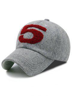 Furry 5 Pattern Embroidery Baseball Cap - Gray