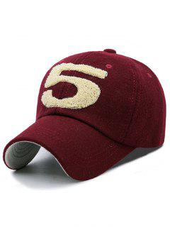 Furry 5 Pattern Embroidery Baseball Cap - Wine Red