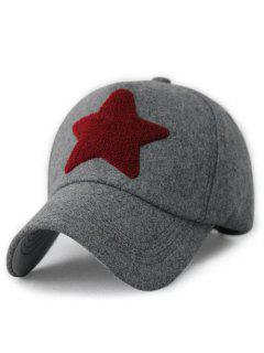 Gorra De Béisbol Decorada Con Estrellas Peludas - Gris
