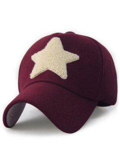 Furry Star Decorated Baseball Cap - Wine Red