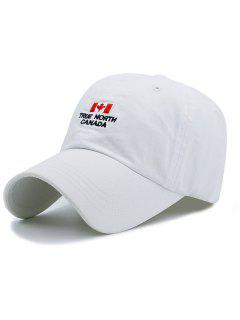 Canada Flag And Letter Embroidery Adjustable Baseball Cap - White