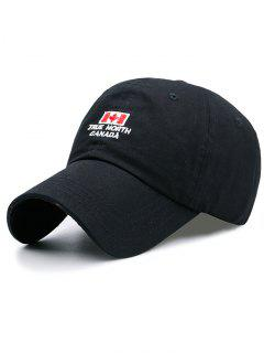 Canada Flag And Letter Embroidery Adjustable Baseball Cap - Black