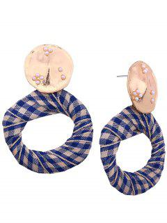 Tiny Faux Pearl Ethnic Circle Earrings - Blue And White