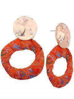 Tiny Faux Pearl Ethnic Circle Earrings - Orange