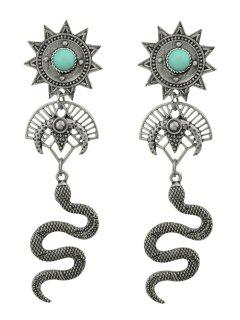 Faux Gem Sun Snake Shape Statement Drop Earrings - Silver