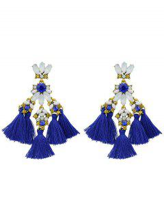 Faux Gem Petal Fringe Drop Earrings - Blue