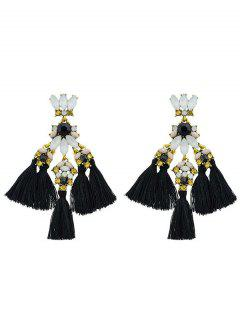Faux Gem Petal Fringe Drop Earrings - Black