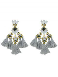 Faux Gem Petal Fringe Drop Earrings - Gray