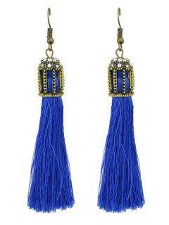 Boucles D'oreilles Pendantes à Franges Style Ethnique - Bleu