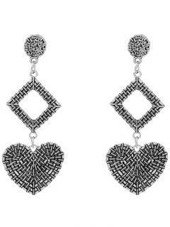 Pendientes Geométricos En Forma De Corazón - Plata