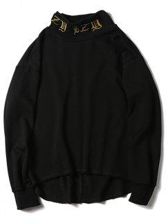 Mock Neck High Low Embroidered Sweatshirt - Black M