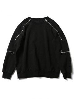 Crew Neck Zipper Design Sweatshirt - Black S