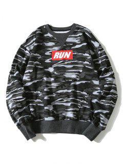 Graphic Camo Sweatshirt - Gray M