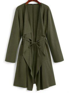 Front Pockets Draped Coat - Army Green L