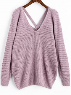 V Neck Criss Cross Pullover Sweater - Light Purple
