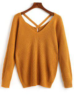 V Neck Criss Cross Pullover Sweater - Mustard
