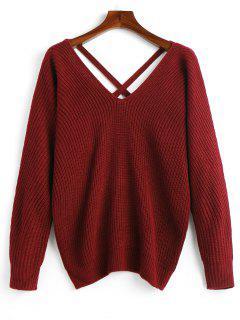 Jersey Con Cuello En V De Malla Cruzada - Vino Rojo
