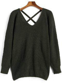 V Neck Criss Cross Pullover Sweater - Army Green