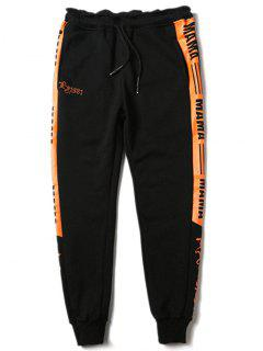 Drawstring Contrast Color Graphic Sports Pants - Black M