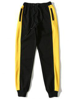Contrast Color Drawstring Sports Pants - Black L