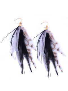 Bohemian Feather Drop Hook Earrings - Black