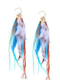 Bohemian Feather Drop Hook Earrings - Blue