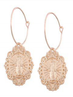Engraved Jesus Oval Hoop Drop Earrings - Golden