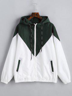 Two Tone Hooded Windbreaker - Army Green L