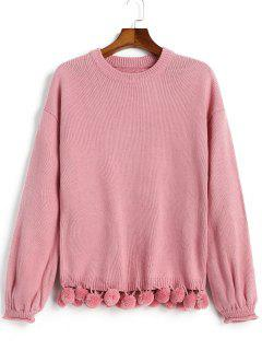 Lantern Sleeve Pompoms Pullover Sweater - Pinkish Purple