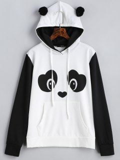 Panda Face Kangaroo Pocket Hoodie - Black White L