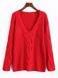 Pullover Mit V-Ausschnitt, Strickpullover - Rot M