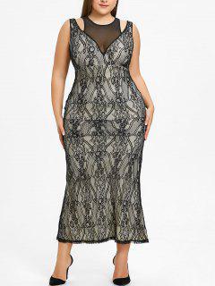 Plus Size Mesh-Panel Spitze Abendkleid - Schwarz 5xl