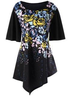 Camiseta Asimétrica Floral Con Manga De Campana Plus Size - Negro 5xl