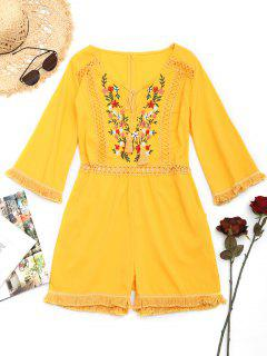 Crochet Panel Floral Patched Tassels Romper - Yellow M