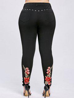 Plus Size Floral Embroidery Rivet Pencil Pants - Black 5xl