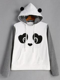 Panda Face Kangaroo Pocket Hoodie - Grey And White L