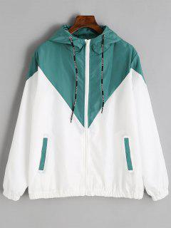 Two Tone Hooded Windbreaker - Blue Green M