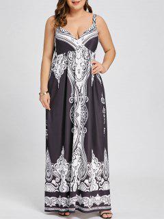Robe Maxi Sans Manches à Imprimé Arabe - Noir 5xl