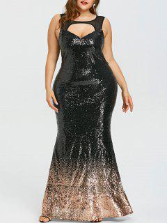 Vestido De Fiesta Brillante Con Espalda Abierta Y Talla Grande - Negro 5xl