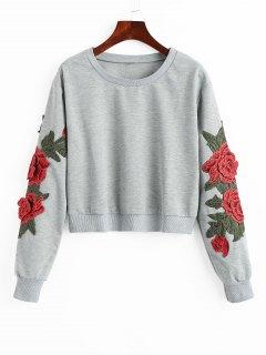 Sudadera Con Estampado Floral De Parche - Gris S