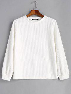 Camiseta Acanalada Con Manga De Linterna - Blanco M