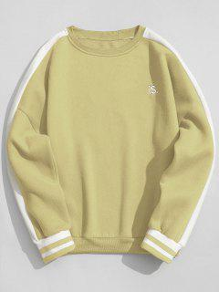 Striped Fleece Crew Neck Sweatshirt - Apricot L