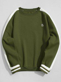 Striped Fleece Crew Neck Sweatshirt - Army Green L