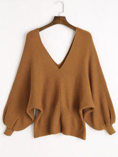 V Neck Slit Batwing Sleeve Sweater - Camel