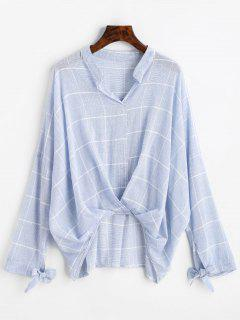 Gathered Gingham High Low Blouse - Light Blue M