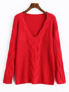 Pullover V Neck Cable Knit Sweater - Red S
