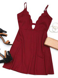 Cut Out Scalloped Mini Dress - Wine Red M