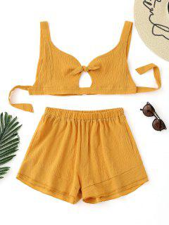 Bow Tied Bralette Top And High Waisted Shorts Set - Mustard L